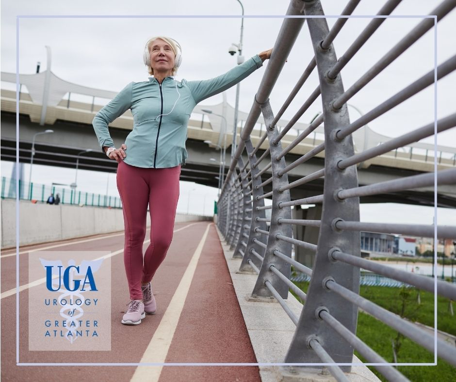 Senior woman stretching after completing her running new year's resolution - UGATL