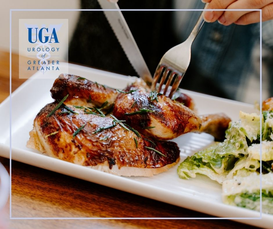 Nutritious plate of baked chicken with vegetables for urinary and kidney health - Urology Of Greater Atlanta